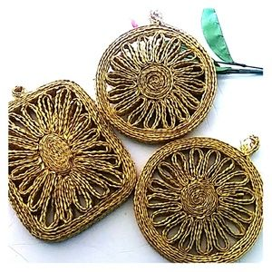 🍴 VTG DECORATIVE 3-Pc RAFFIA TRIVETS